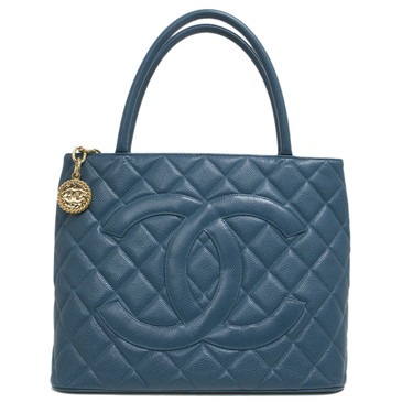 Chanel Turquoise Quilted Caviar Medallion  Tote