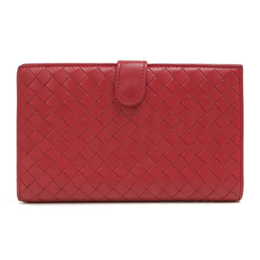 Bottega Veneta Red Nappa Intrecciato Continental Fold  Wallet