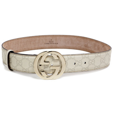 Gucci Ivory Guccissima Leather Belt with Interlocking G
