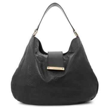 Gucci Black Guccissima Leather New Web Hobo Bag