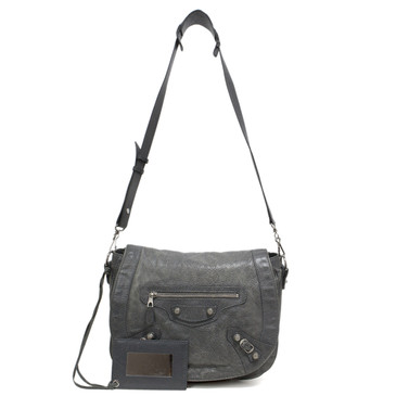 Balenciaga Grey Lambskin Folk Messenger Bag