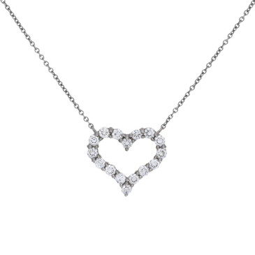 Tiffany & Co. Platinum & Diamond Small  Hearts Pendant
