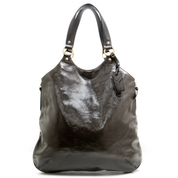 YSL Yves Saint Laurent Grey Patent Tribute Tote
