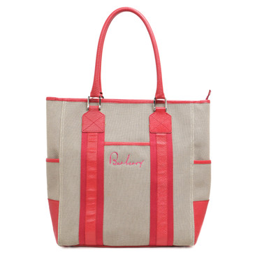Burberry Leather Trim Canvas Tote