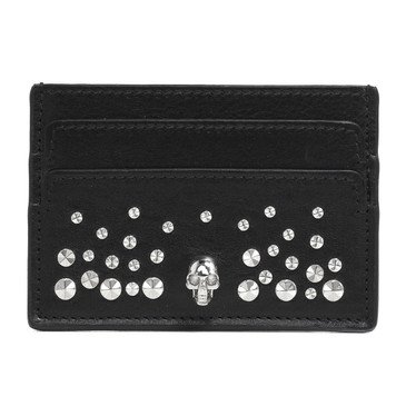 Alexander McQueen Skull & Studs Leather Card Holder