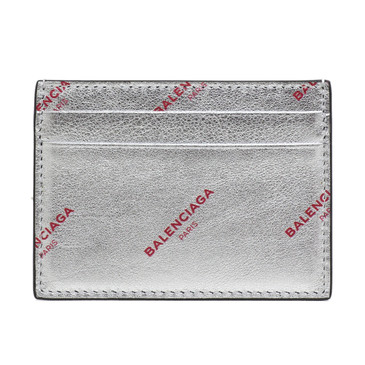 Balenciaga Silver Logo Card Holder