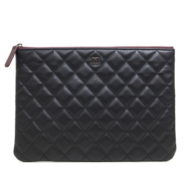 Chanel Black Quilted Lambskin Medium O Case