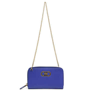 Salvatore Ferragamo Blue Mini Gancini Wallet on Chain