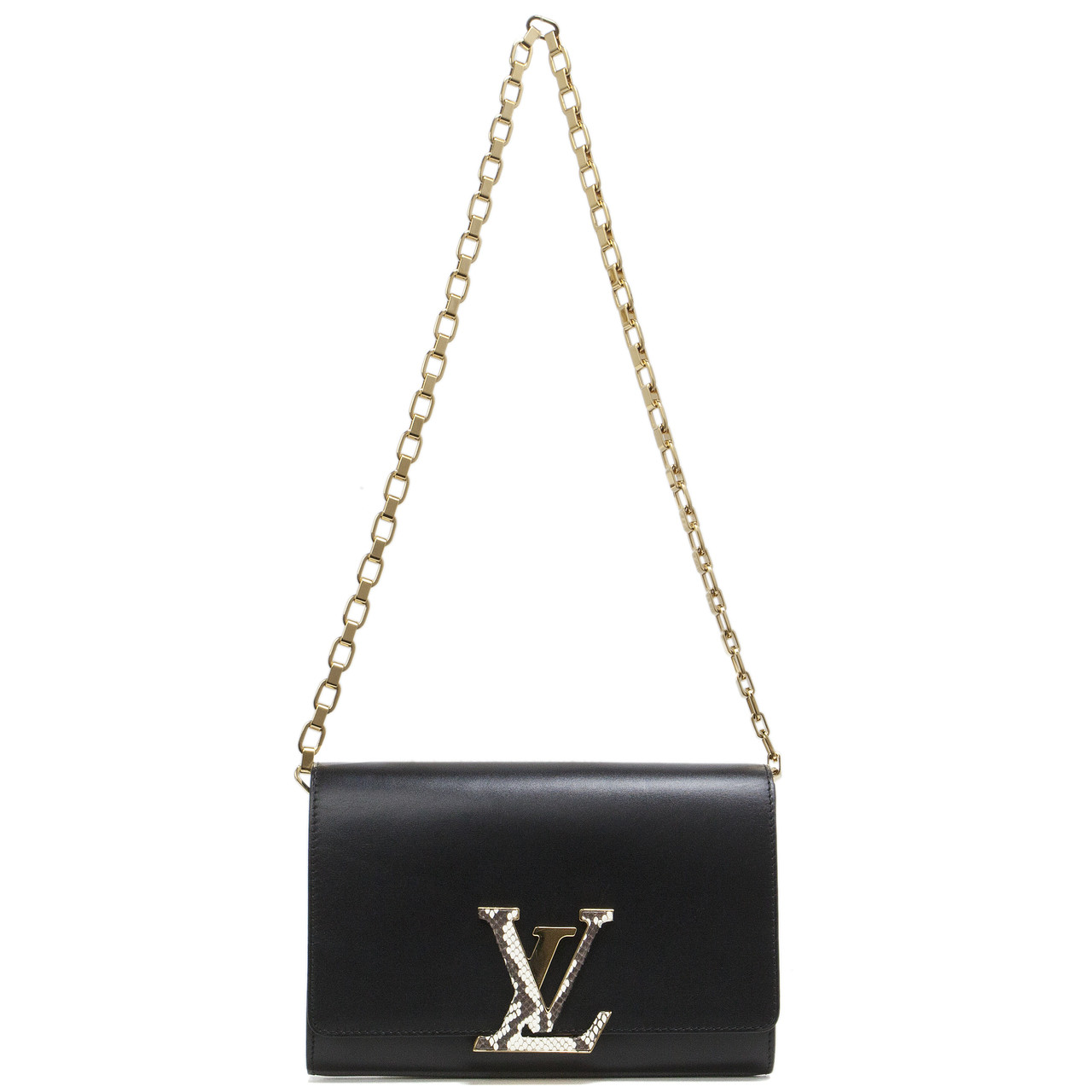 171e0876f72 Louis Vuitton Black Calfskin Chain Louise GM - modaselle