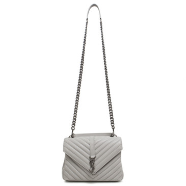 Saint Laurent Grey Matelassé Leather Medium College Bag