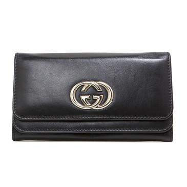 Gucci Black Calfskin Britt Continental Wallet