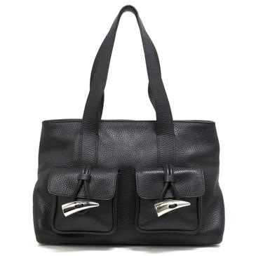 Burberry Black Pebbled Leather Nova Tooth Shoulder Bag