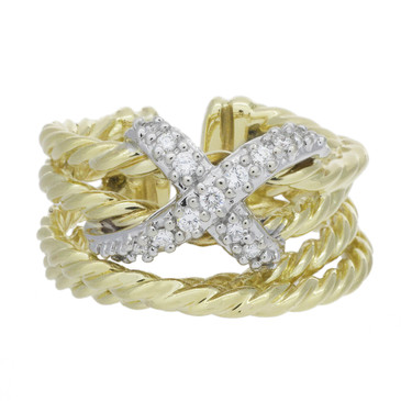 David Yurman 18K & Diamond X Crossover Ring