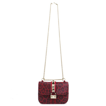 Valentino Red Ponyhair Small Glam Lock Rockstud Flap Bag