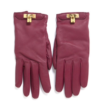 Hermes Rouge Lambskin Soya Gloves