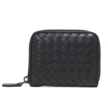 Bottega Veneta Black Nappa Intrecciato Coin Purse