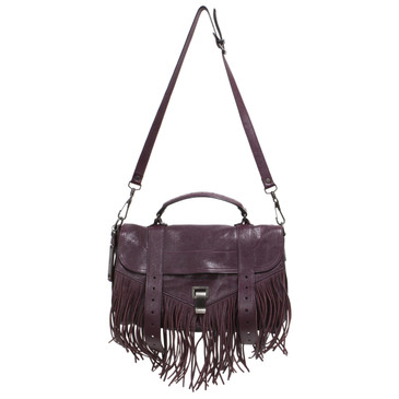 Proenza Schouler Oxblood Lambskin Medium PS1 Fringe Satchel