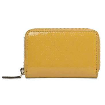 Gucci Patent Microguccissima Zip Card Case