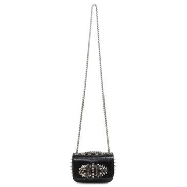 Christian Louboutin Black Embossed Patent Mini Sweet Charity Bag