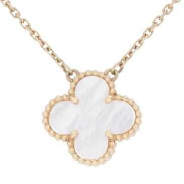 Van Cleef & Arpels 18K Yellow Gold & Mother of Pearl Vintage Alhambra Pendant