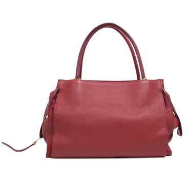 Chloe Red Pebbled Calfskin East West Dree Satchel