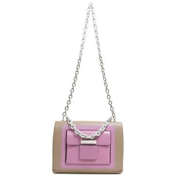 Balenciaga Beige & Pink Calfskin Bal58 Shoulder Bag