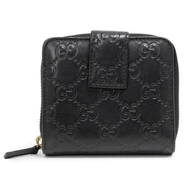 Gucci Black Guccissima Zip Around French Wallet