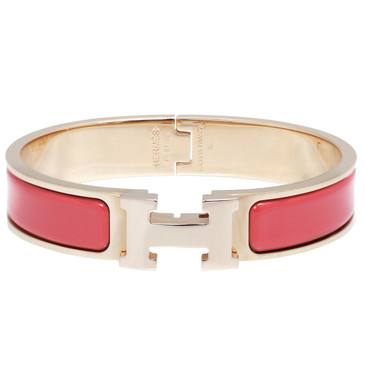 Hermes Rouge Corail Enamel Narrow Clic Clac Bracelet