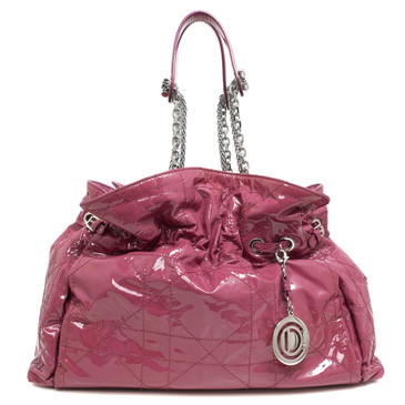 Christian Dior Pink Patent Quilted Cannage Le Trente Bag