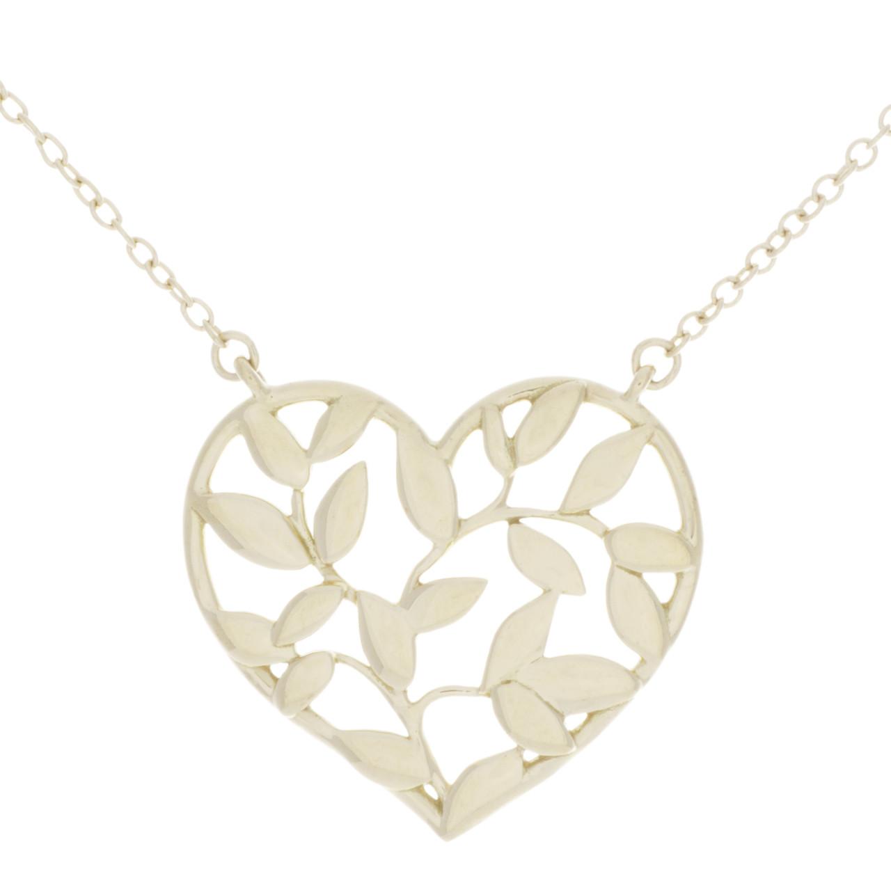 3fe16c436 Tiffany & Co. 18K Yellow Gold Olive Leaf Heart Pendant - modaselle
