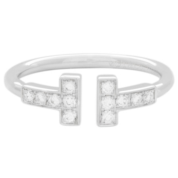 Tiffany & Co. 18K White Gold & Diamond T Wire   Ring
