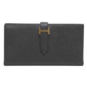 Hermès Black Epsom Bearn Gusset Wallet