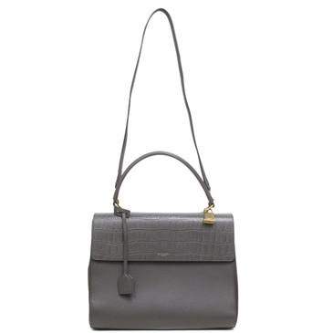 Saint Laurent Grey Embossed Calfskin Medium Moujik Bag