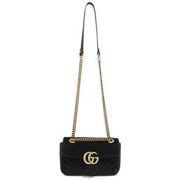 Gucci Black Velvet GG Marmont Mini Shoulder Bag