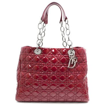 Christian Dior Red Cannage Quilted Patent Large Soft Shopping Tote