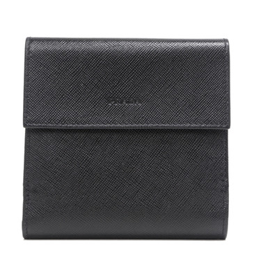 Prada Black Saffiano French Compact Wallet