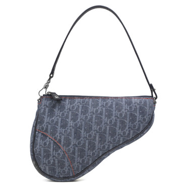 Christian Dior Denim Monogram Saddle Pouch