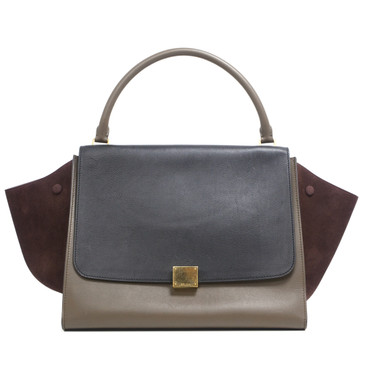 Celine Smooth Calfskin & Suede Tricolor Large Trapeze