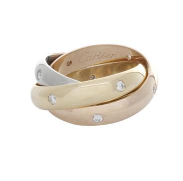 Cartier 18K Tri-Tone & Diamond Trinity Ring