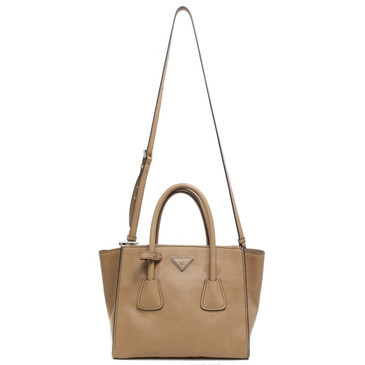 Prada Tan Glace Calfskin Twin Pocket Tote