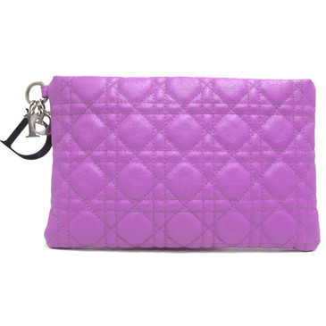 Christian Dior Pink Coated Canvas Cannage Panarea Clutch