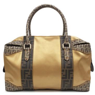 Fendi Zucca & Zucchino Trim Gold Canvas Bauletto Bag