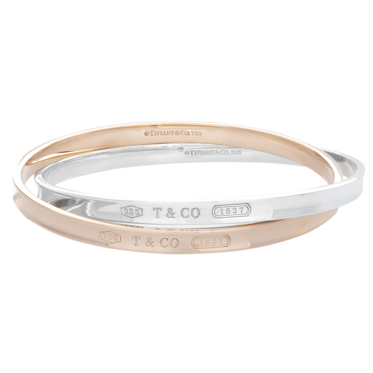 ea6efa7d1 Tiffany & Co. 18K Rose Gold & Sterling Silver Interlocking Circles ...