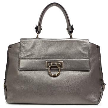 Salvatore Ferragamo Metallic Silver Medium Sofia Bag