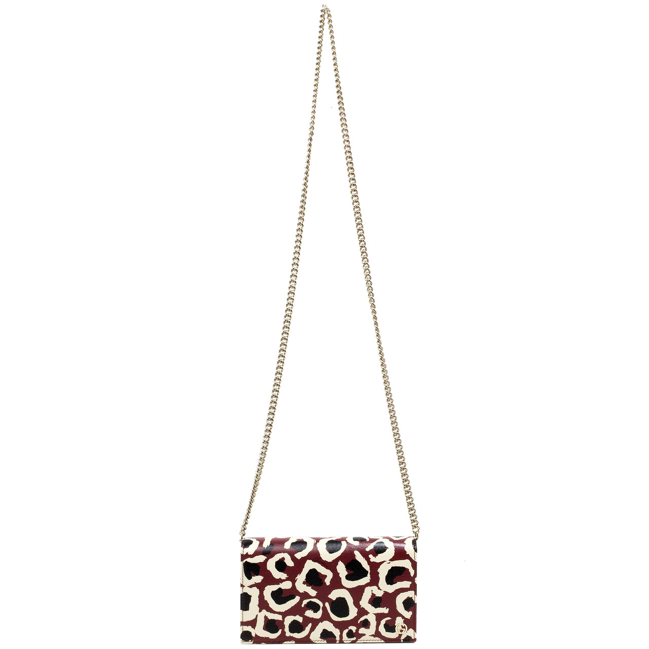 ea80a0fbdc29 Gucci Leopard Print Calfskin Betty Chain Wallet - modaselle