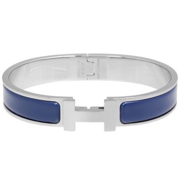 Hermes Blue Matt Enamel Narrow Clic Clac Bracelet