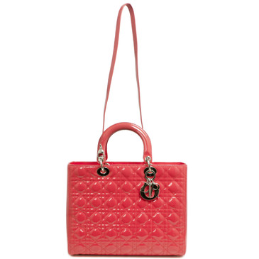 Christian Dior Coral Quilted Patent Large Lady Dior Bag