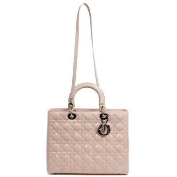 Christian Dior Pink Quilted Patent Large Lady Dior Bag