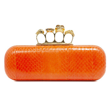 Alexander McQueen Orange Python Knuckle Box Clutch