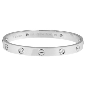 Cartier 18K White Gold &  Diamond Love Bracelet